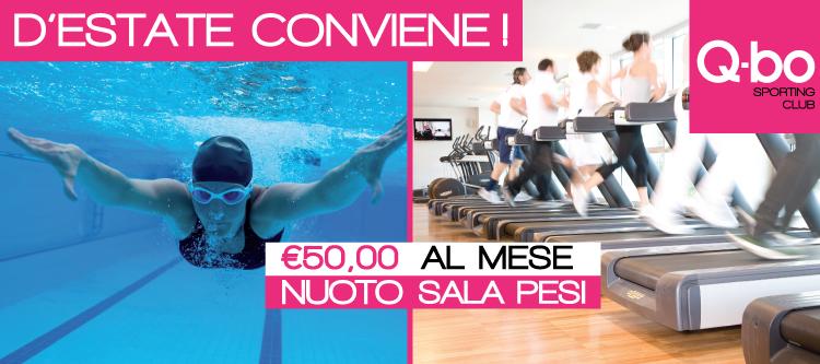Promozione estate conviene per la sala pesi e i corsi di nuoto al Q-bo Wellness